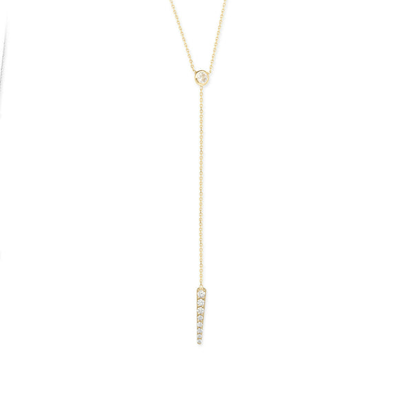 14K Solid Rose Gold CZ Bezel Set Dangle W. Rad Lariat Necklace (White, Yellow)