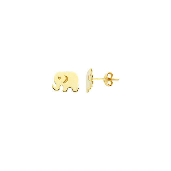 14K Solid Yellow Gold Mini Elephant Stud Earrings - Minimalist