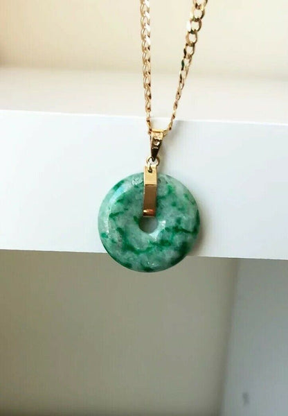 18K Solid Yellow Gold Green Donut Round Natural Jade Pendant - ES5