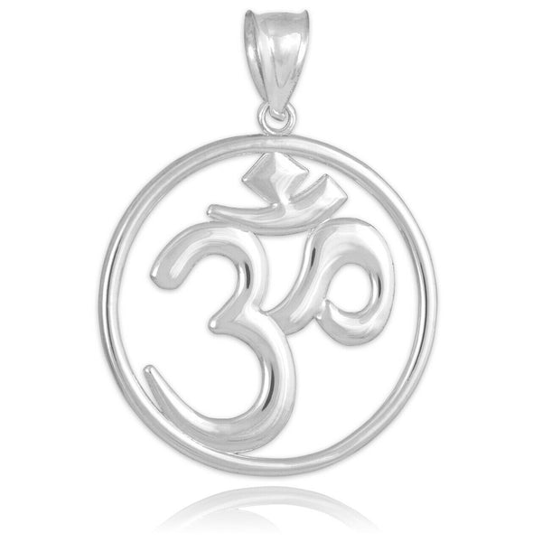 925 Sterling Silver OM (OHM) Symbol Round Pendant Necklace Made in US Medallion