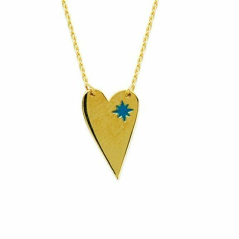 "14K Solid Yellow Gold Elongated Heart Blue Star Adjustable Necklace 16""-18"""