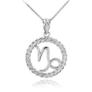 925 Sterling Silver Capricorn Zodiac Sign in Circle Rope Pendant Necklace