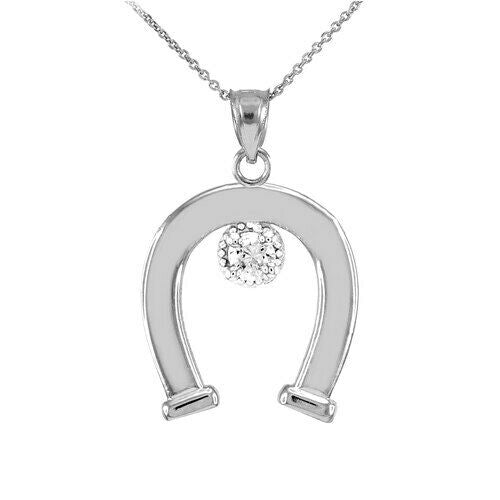 925 Sterling Silver CZ-Studded Lucky Horseshoe Pendant Necklace Made in USA