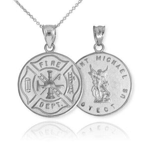 Sterling Silver Firefighter Badge Reversible St. Michael Pendant Necklace in USA
