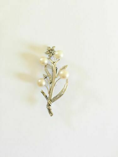 NWOT 10K White Gold Flower Fresh Water Pearl Brooch Pin
