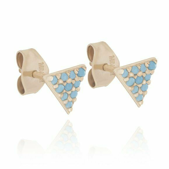 14K Solid Yellow Gold Triangle Pyramid Nano Turquoise Stud Earrings -