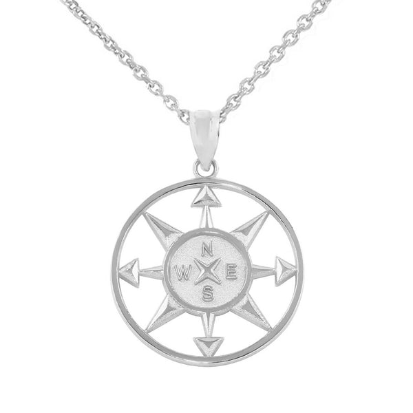 925 Sterling Silver North South East West Compass Travel Open Pendant Necklace