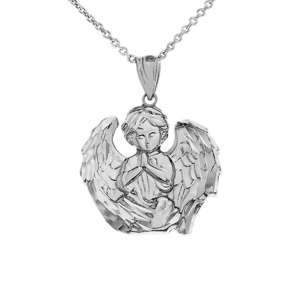925 Sterling Silver Praying Guardian Angel Religious Protection Pendant Necklace