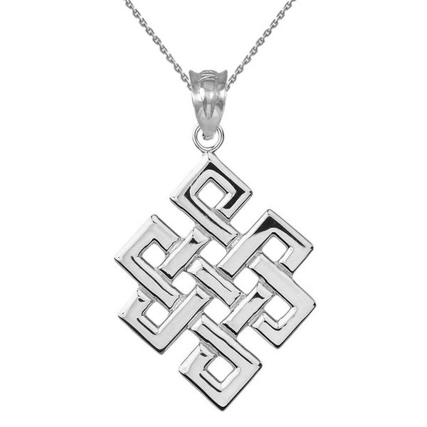 925 Sterling Silver Japanese Buddhist Eternity Knot Pendant Necklace Made in USA