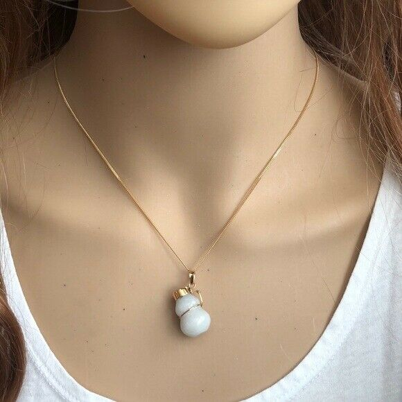 14K Solid Gold White Jade Gourd Bottle Pendant /Charm Flat Cuban Necklace