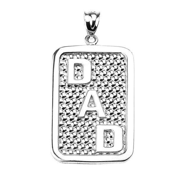 "925 Sterling Silver ""DAD"" Engravable Rectangle Pendant Necklace - Father's Day"