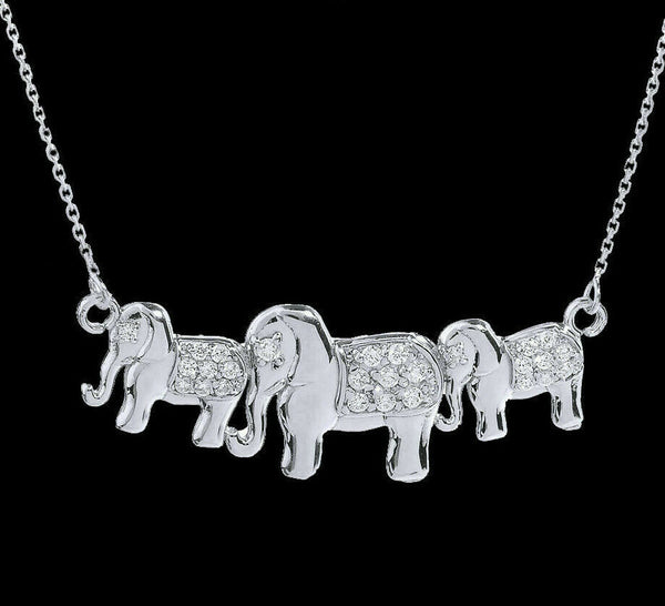 "Sterling Silver CZ Studded Three Elephant Pendant Necklace 16"" 18"" 20"" 22"""
