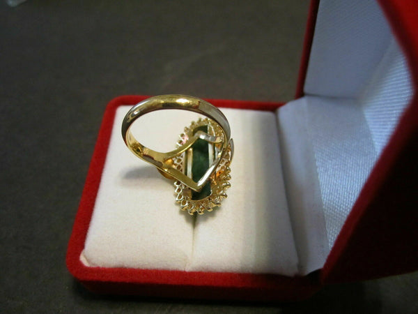 NWOT 14K Solid Yellow Gold CZ Green Jade Women Ring Size 6.25