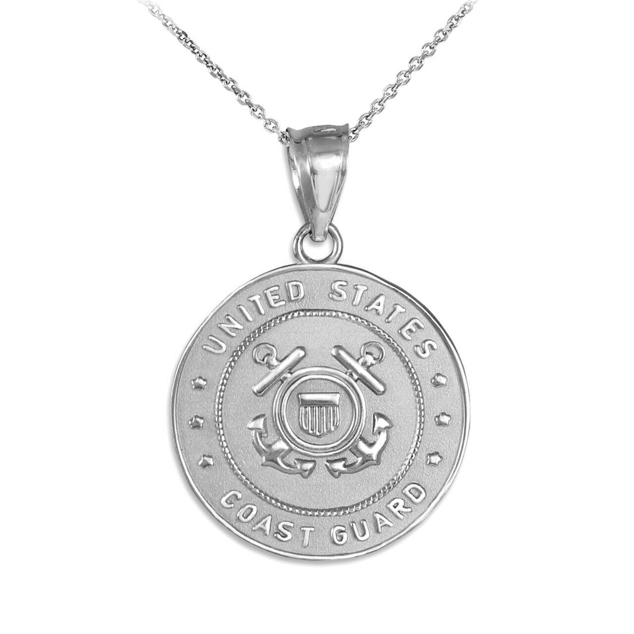 US Coast Guard Coin Pendant Necklace 925 Sterling Silver Made In USA