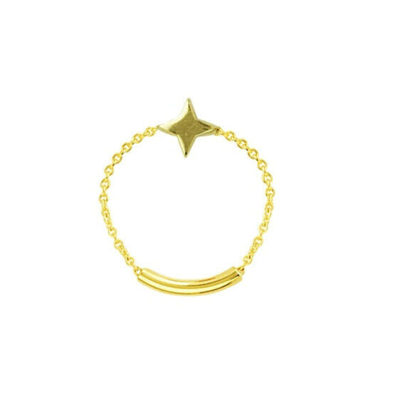 14K Solid Gold Star Shape Chain Dainty Bar Ring -Yellow Size 6, 7, 8 Minimalist