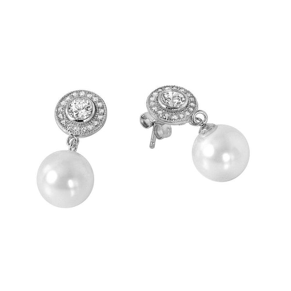 NWT Sterling Silver 925 Rhodium Plated Pearl CZ Cluster Earrings