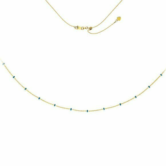 "14K Solid Yellow Gold Turquoise Enamel Saturn Bead Choker Necklace 17"" Adjust"