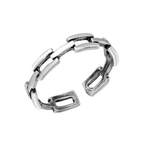 NEW .Sterling Silver 925 Chain Link or Open Brick Toe Finger Ring Adjustable