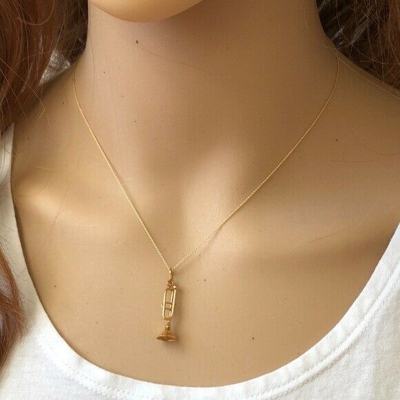 14K Solid Gold Small Saxophone Music Pendant/Charm Dainty Necklace -Minimalist