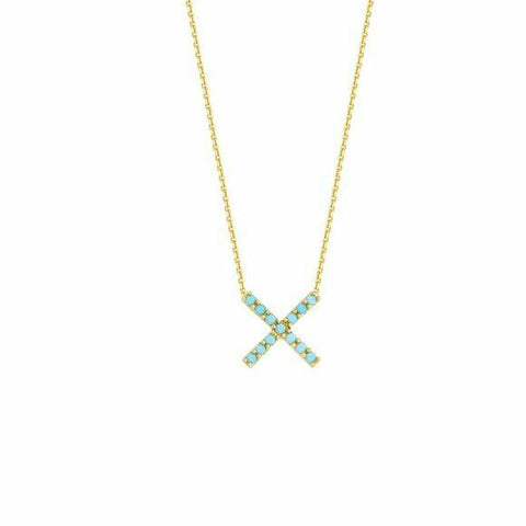 "14K Solid Gold X DC Cable Nano Turquoise Adjustable Necklace 16""-18"""