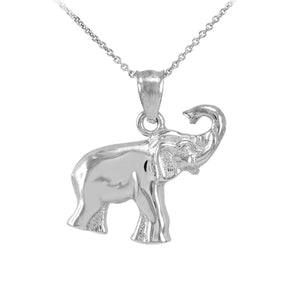 "925 Sterling Silver Elephant Pendant Necklace Charm Made in US 16"" 18"" 20"" 22"""
