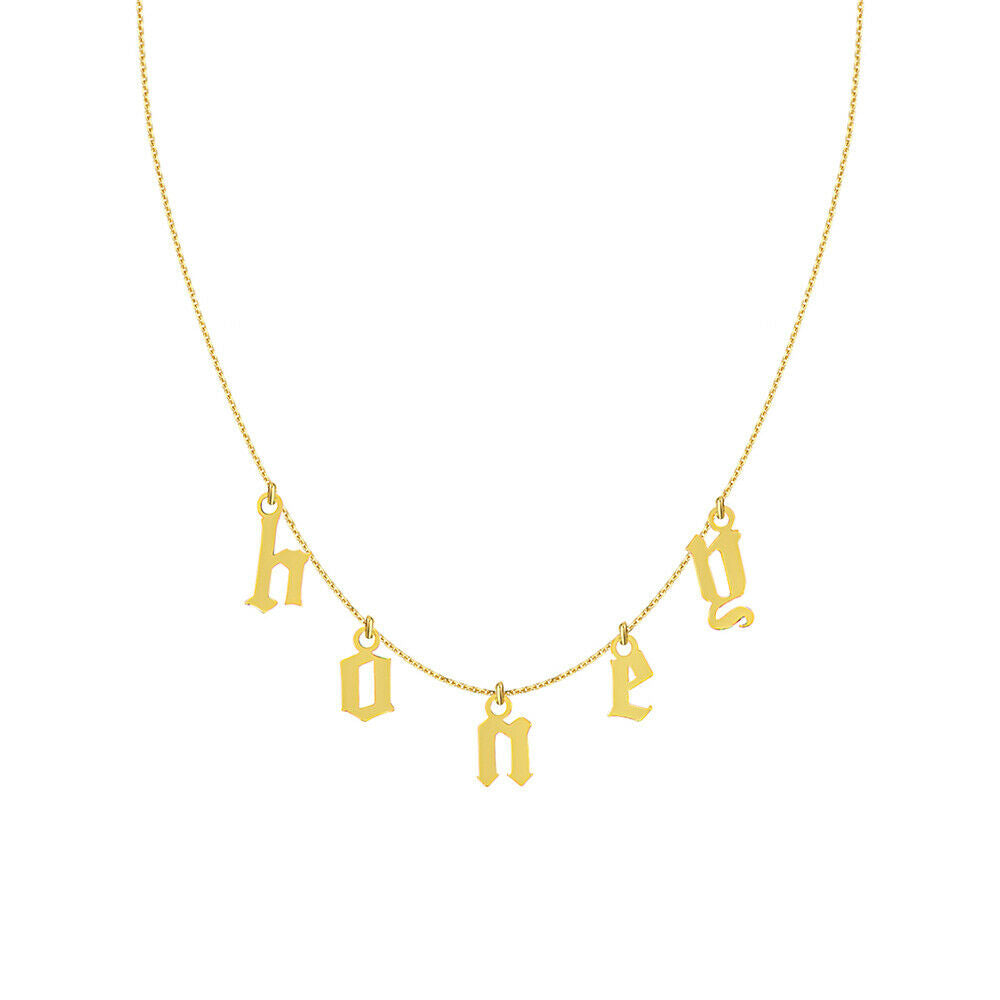 Personalized 14K Solid Gold Gothic Font Spaced Letter Hanging Station Necklace