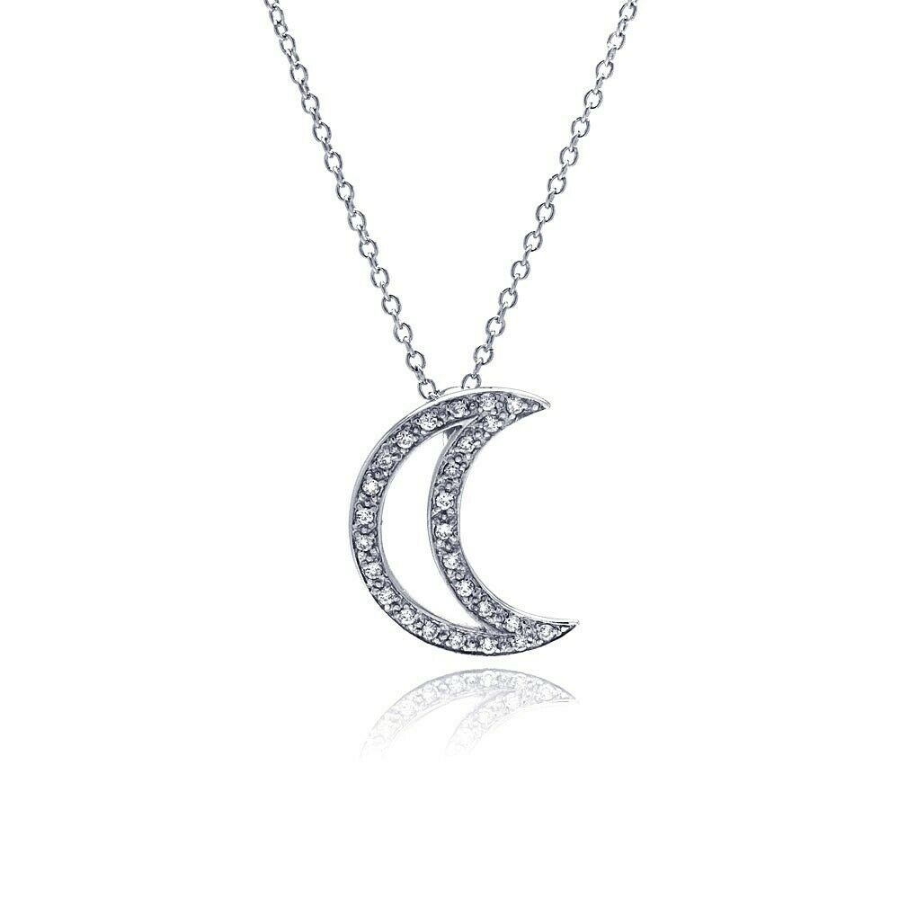 "925 Sterling Silver Half Crescent Moon Pendant Necklace 16""-18"""