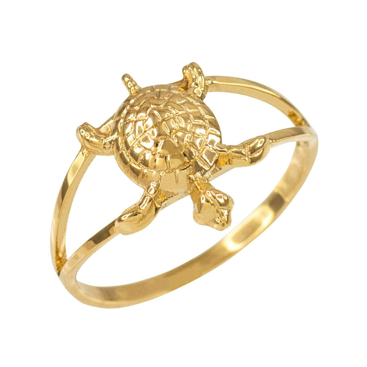 10k Yellow Gold Dainty Lucky Hawaiian Honu Turtle Charm Ring Any/ All Sizes