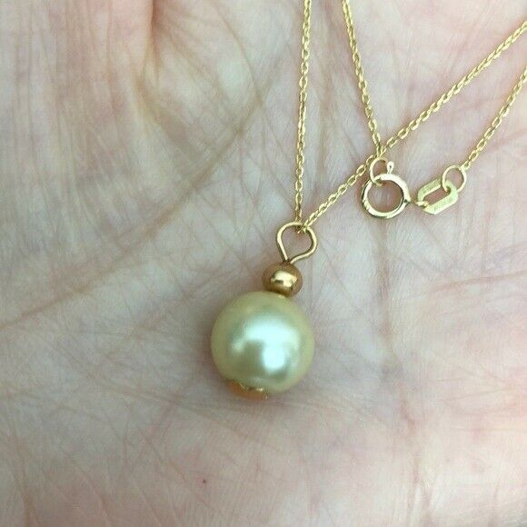 14K Solid Gold Small Synthetic Pearl Pendant /Charm Dainty Necklace - Minimalis