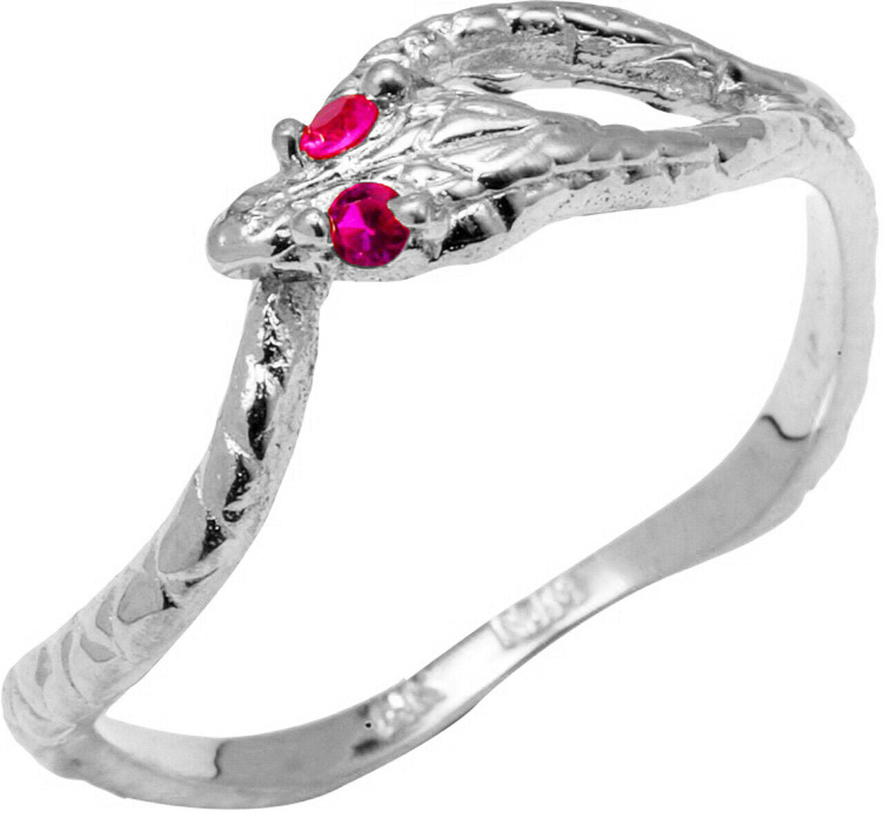 Pure 925 Sterling Silver Red CZ Ouroboros Ring All Any Size Made in USA