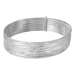 NWT Fine Sterling Silver 925 Diamond Cut Semanario Bangle Bracelet 60, 65 mm-127