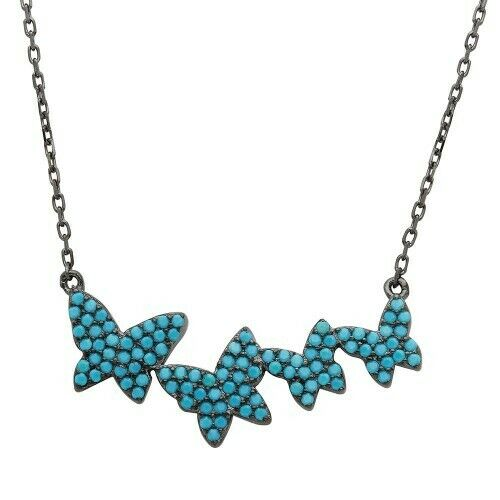 Sterling Silver Black Rhodium Graduated Turquoise Encrusted Butterfly Necklace