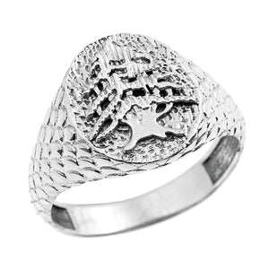 925 Sterling Silver Textured Band Lebanese Cedar Tree Men's Ring All /Any Size