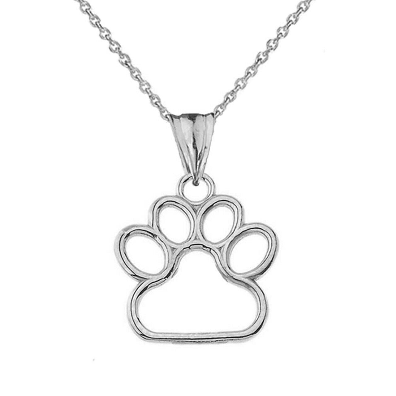 Dainty Dog Paw Print Pendant Necklace In 925 genuine Sterling Silver Made In USA