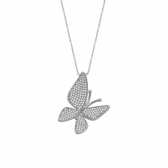 "925 Sterling silver Fancy CZ Butterfly Adjustable 16""-18"" Necklace"