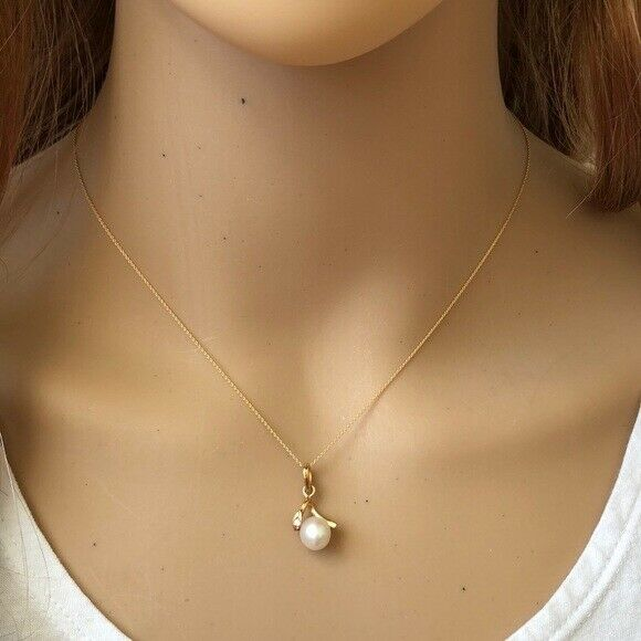 "14K Solid Gold Mini Pearl Pendant Dainty Necklace - Minimalist 16""-18"""