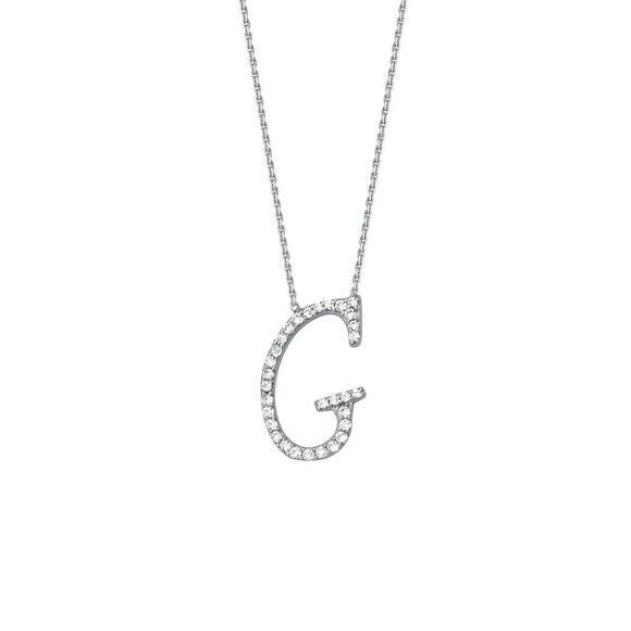 "925 Sterling Silver CZ Initial Letter G Necklace Adjustable 16""-18"" All Letter"