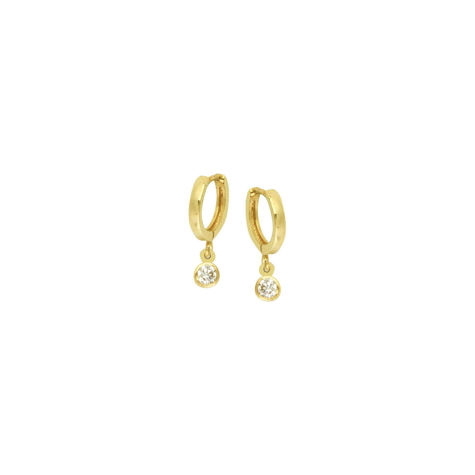 14K Solid Yellow Gold Baby Hoop Dangle Bezel CZ Earrings - Kid/ Children