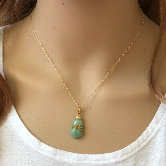14K Solid Gold Natural Real Jade Gourd Bottle Bow Pendant Necklace -Minimalist