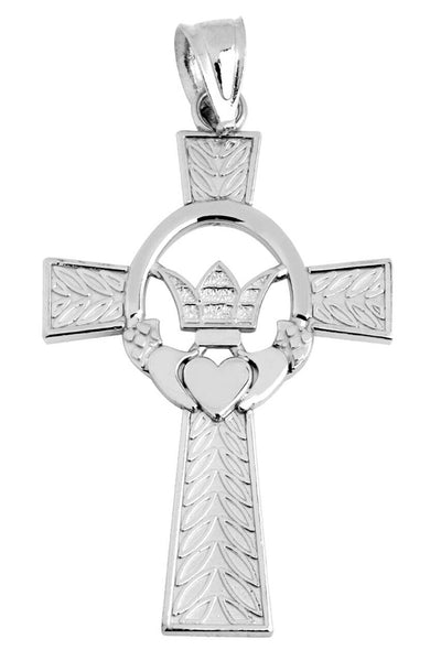 "925 Sterling Silver Claddagh Irish Cross Pendant Charm Necklace 16"" 18"" 20"" 22"""