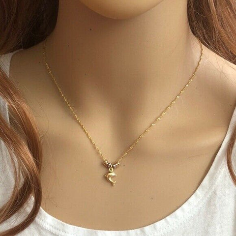 14K Solid Yellow Gold Mini Dolphin Circle Dainty Necklace - Minimalist