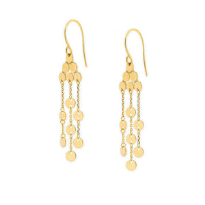 14K Solid Yellow Gold 3 Strand Disk/Disc Dangle Drop Earrings