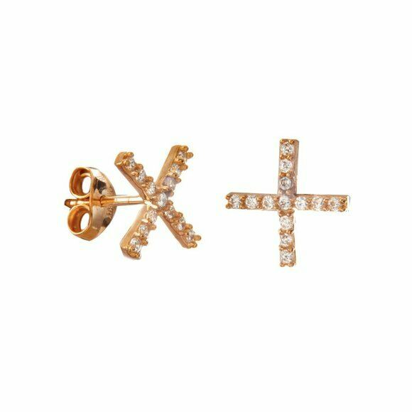"14K Solid Gold 1.1mm Mini CZ ""X"" Stud Earrings Yellow, White, Rose -Minimalist"