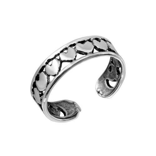Fine Sterling Silver 925 Multi Heart Oxidized Adjustable Toe Ring or Finger Ring