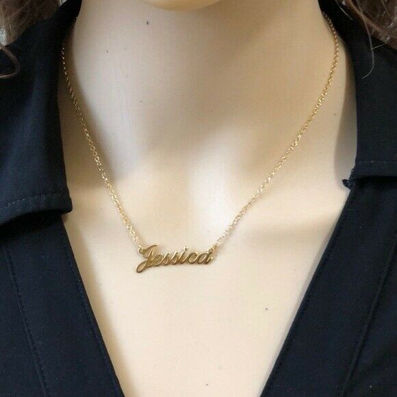 "Personalized Gold over Sterling Silver Name Plate Necklace - Jessica 16"" Rolo"