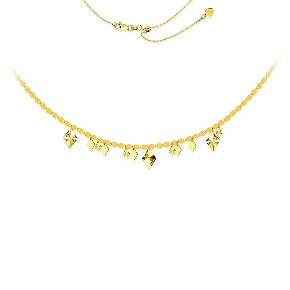 "14K Solid Gold Valentino Chain Dangle Rhomb Choker Necklace Adjust 17"" - Yellow"