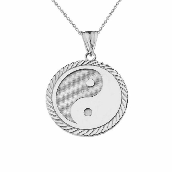 925 Sterling Silver 925 Sterling Silver Yin Yang Pendant Necklace Made in USA
