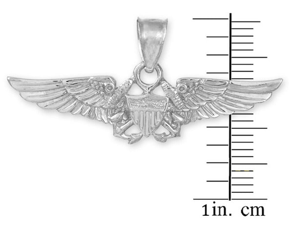 925 Sterling Silver U.S. Flight Naval Officer Double Anchor Pendant Necklace