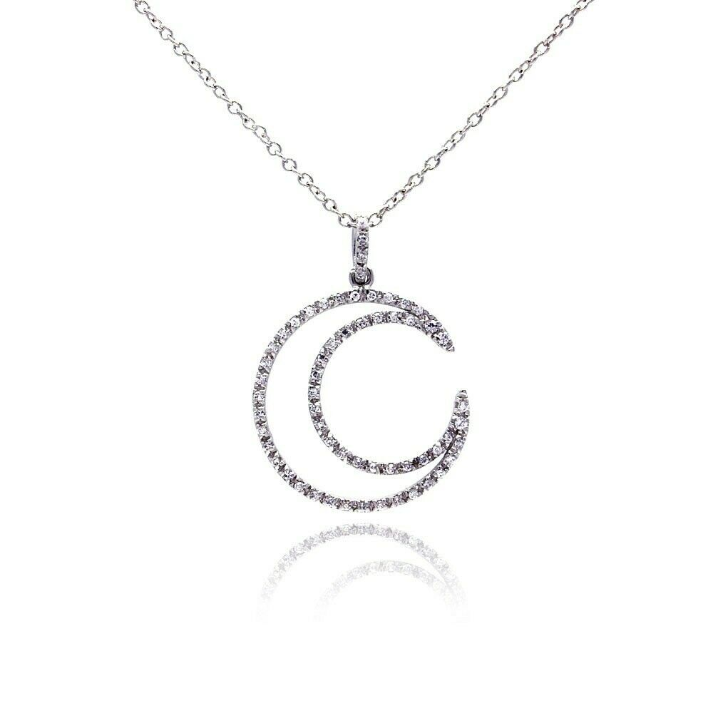"925 Sterling Silver Open Circle CZ Pendant Necklace 16""-18"" Adjustable"