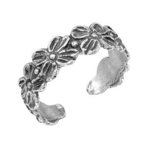 925 Sterling Silver Flower Link Adjustable Toe Ring / Finger Thumb Ring